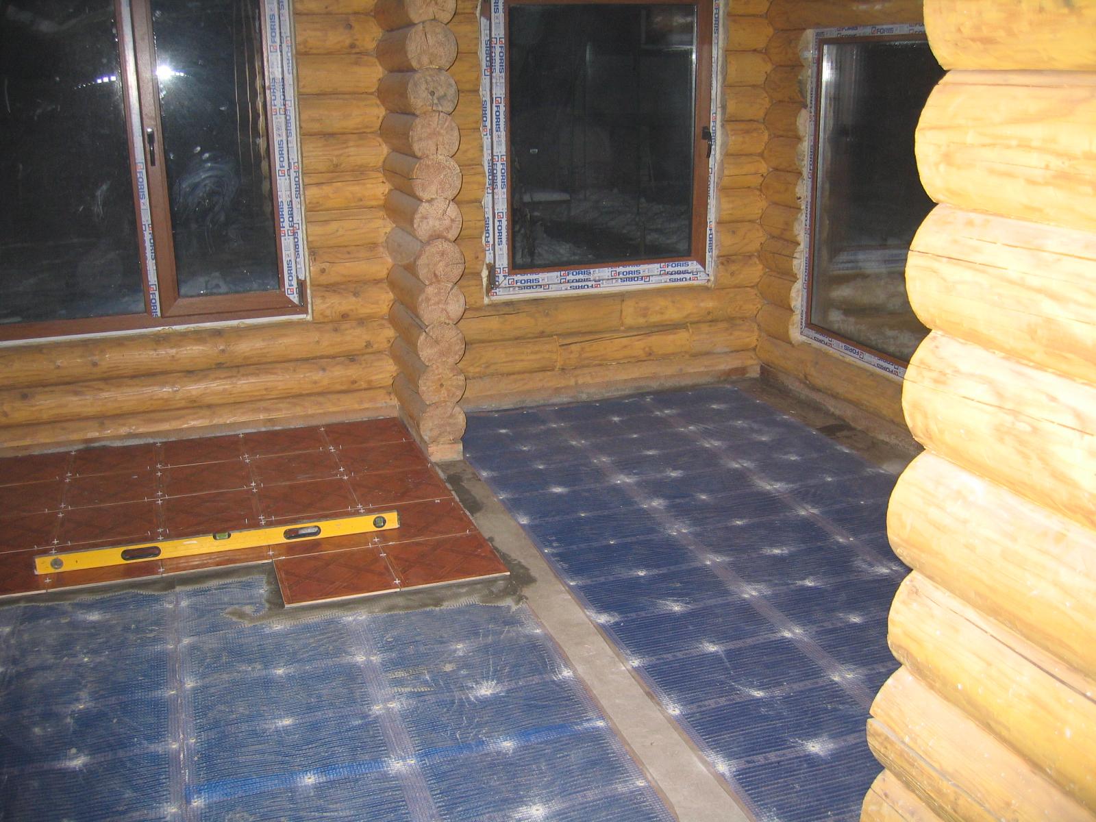 Теплый пол в баню своими руками электрический под